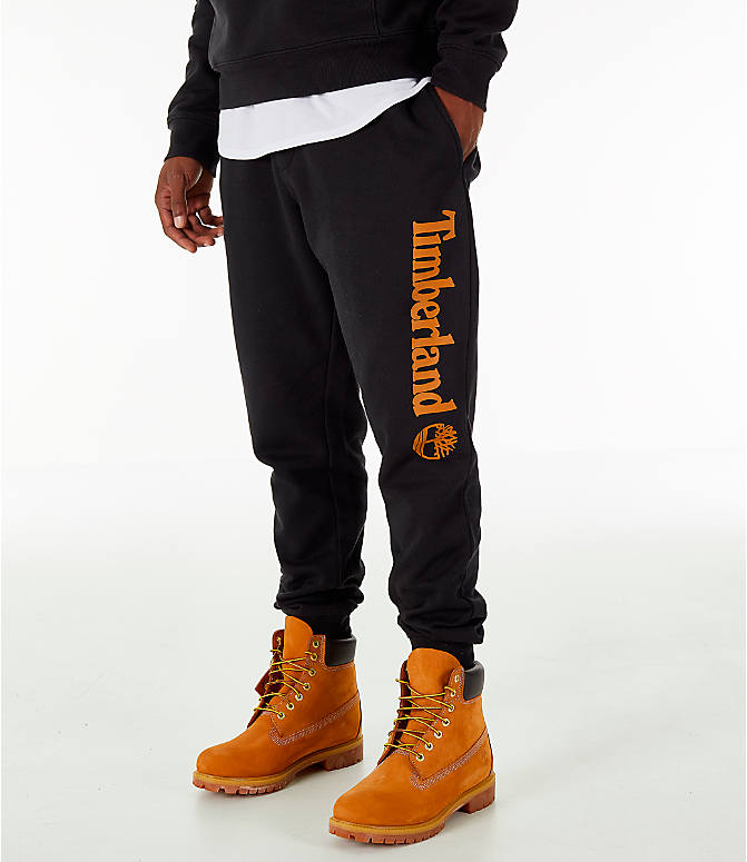 Front view of Men's Timberland Logo Jogger Pants in Black