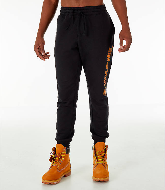 Front Three Quarter view of Men's Timberland Logo Jogger Pants in Black