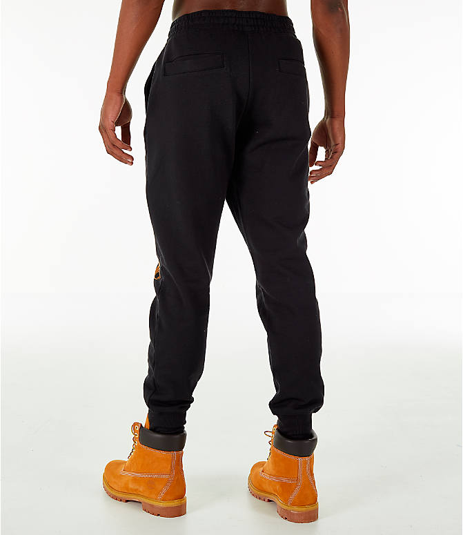 Back Left view of Men's Timberland Logo Jogger Pants in Black