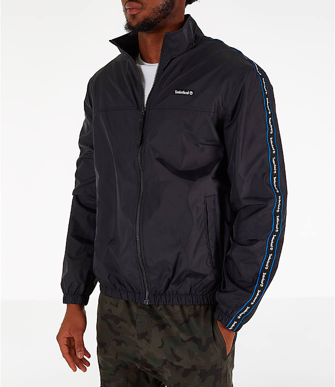 Front view of Men's Timberland Taped Track Jacket in Black