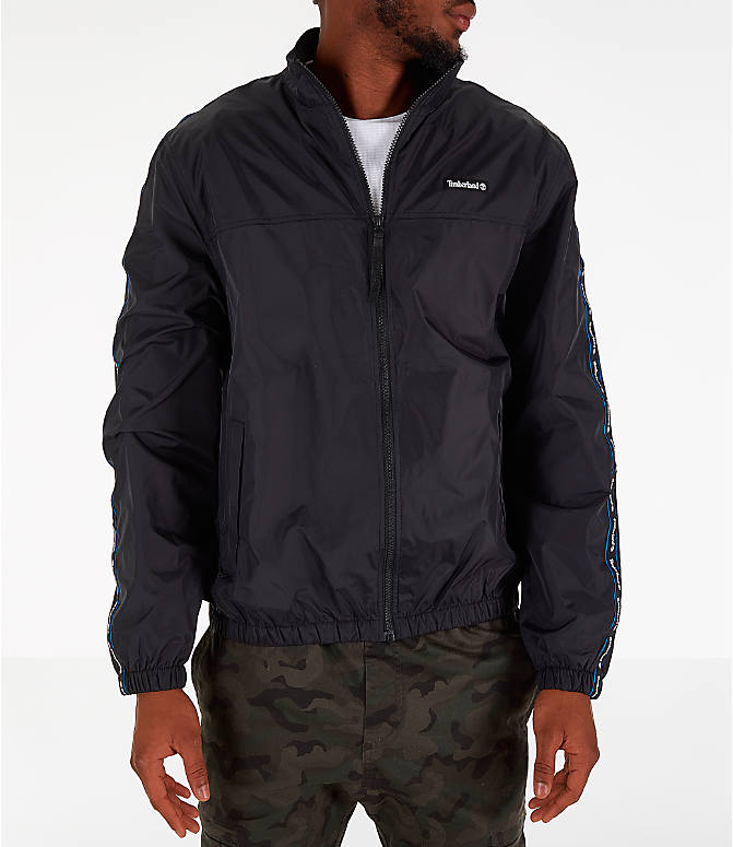 Front Three Quarter view of Men's Timberland Taped Track Jacket in Black