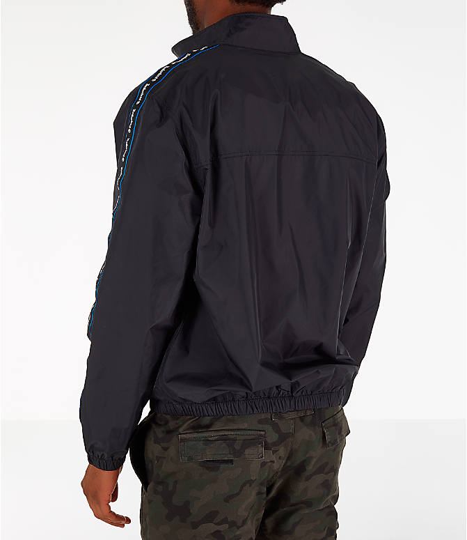 Back Left view of Men's Timberland Taped Track Jacket in Black