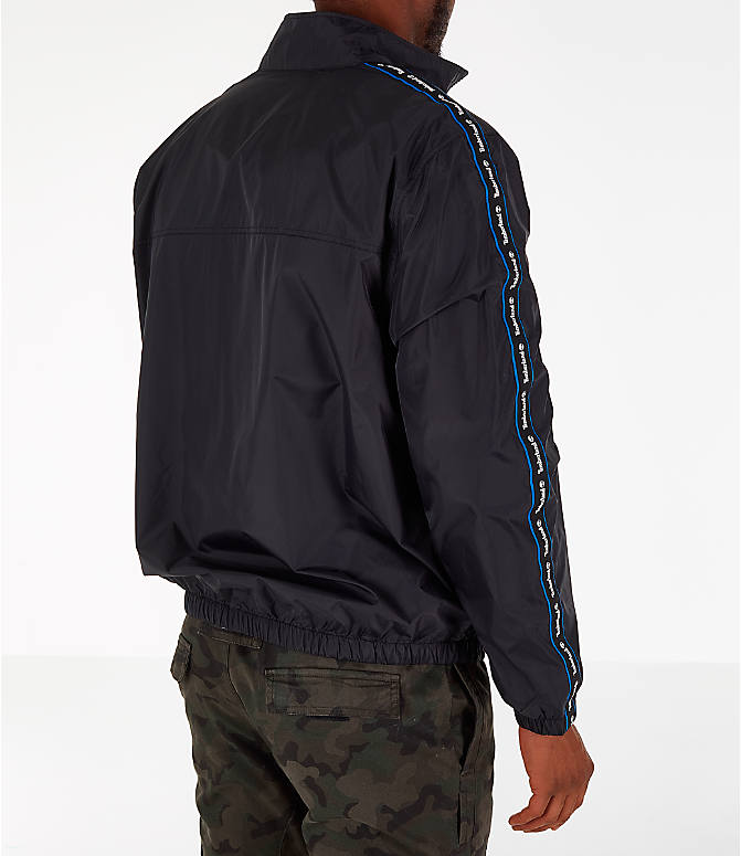 Back Right view of Men's Timberland Taped Track Jacket in Black