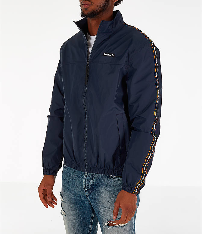 Front view of Men's Timberland Taped Track Jacket in Navy