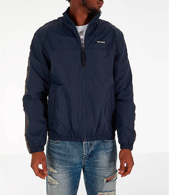 Front Three Quarter view of Men's Timberland Taped Track Jacket in Navy