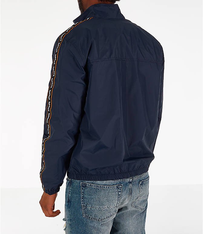 Back Left view of Men's Timberland Taped Track Jacket in Navy