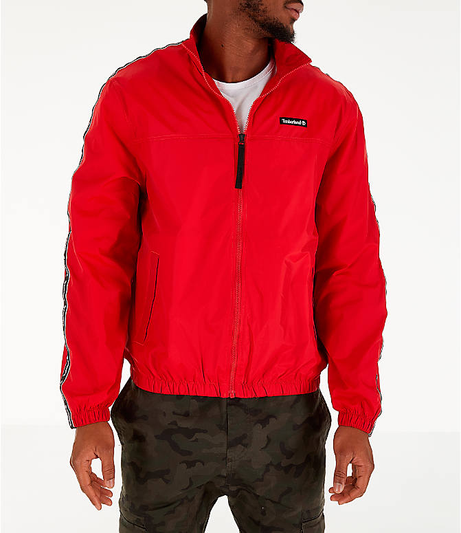 Front view of Men's Timberland Taped Track Jacket in Red