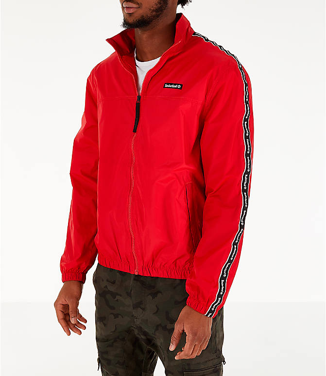Front Three Quarter view of Men's Timberland Taped Track Jacket in Red