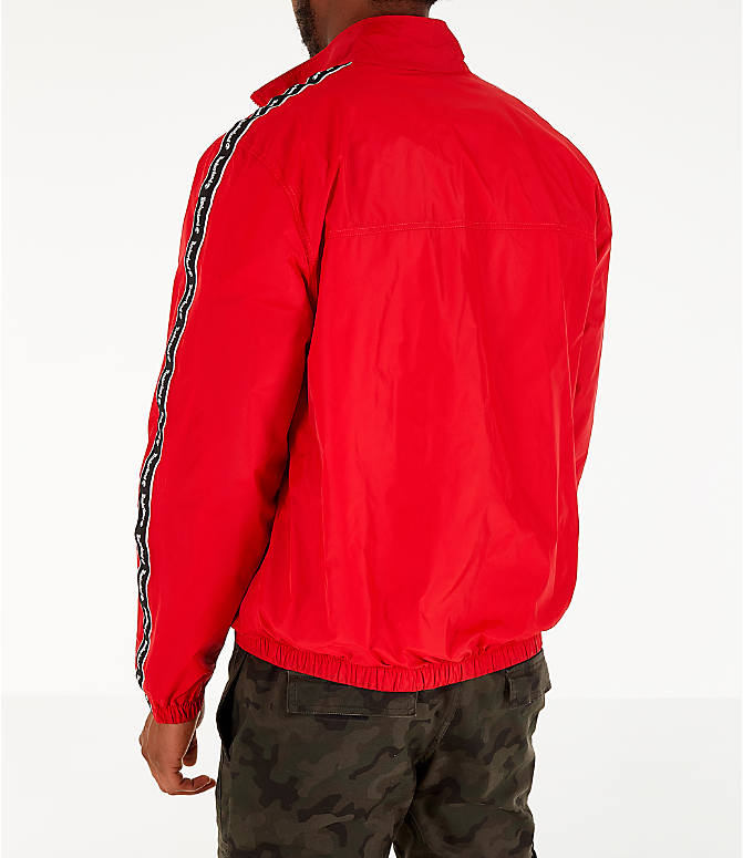 Back Left view of Men's Timberland Taped Track Jacket in Red