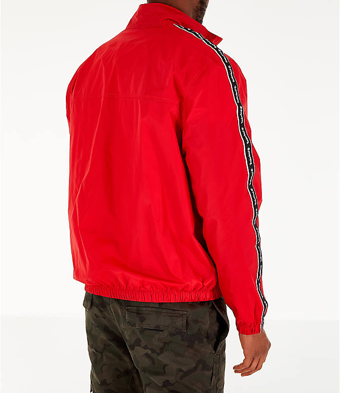 Back Right view of Men's Timberland Taped Track Jacket in Red