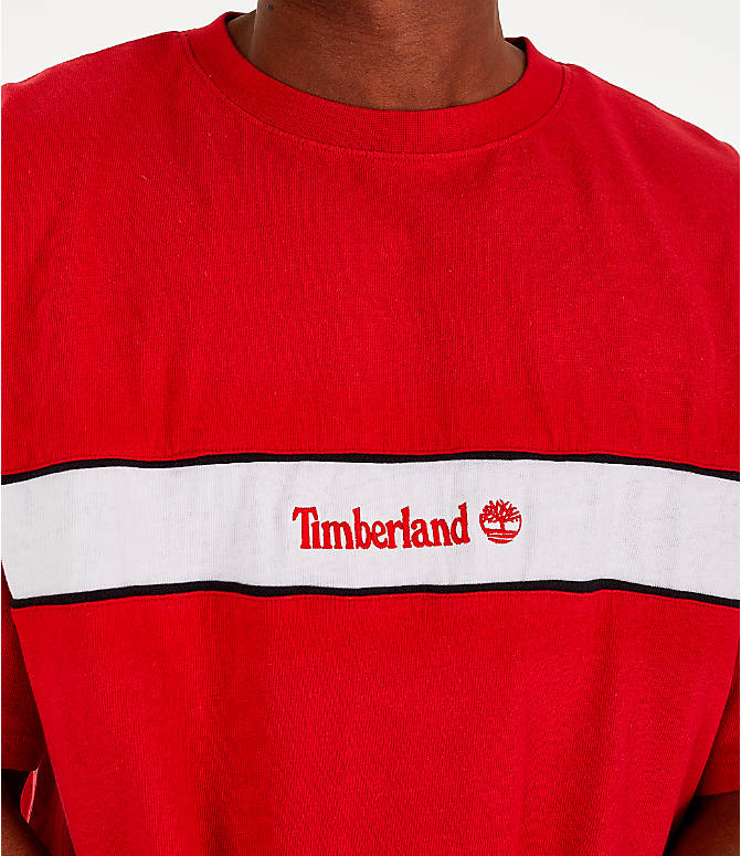 Detail 1 view of Men's Timberland Striped Box T-Shirt in Red