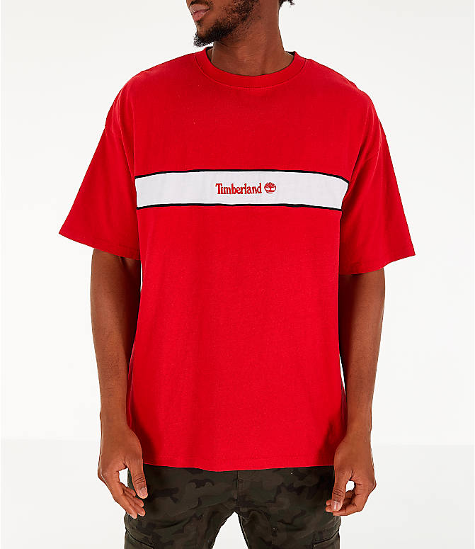 Front view of Men's Timberland Striped Box T-Shirt in Red