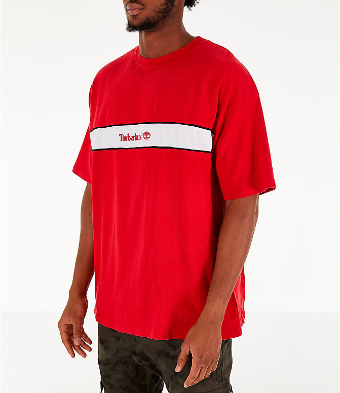 Front Three Quarter view of Men's Timberland Striped Box T-Shirt in Red
