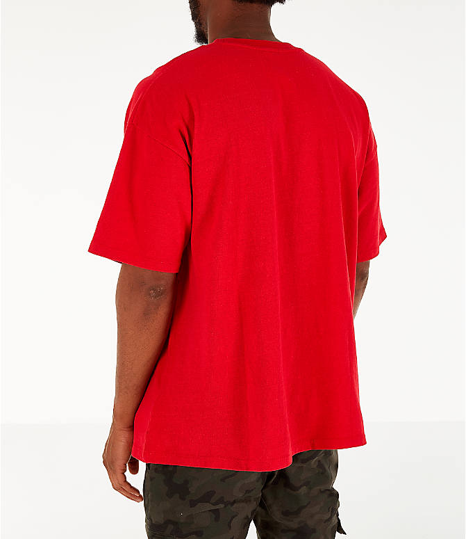Back Left view of Men's Timberland Striped Box T-Shirt in Red