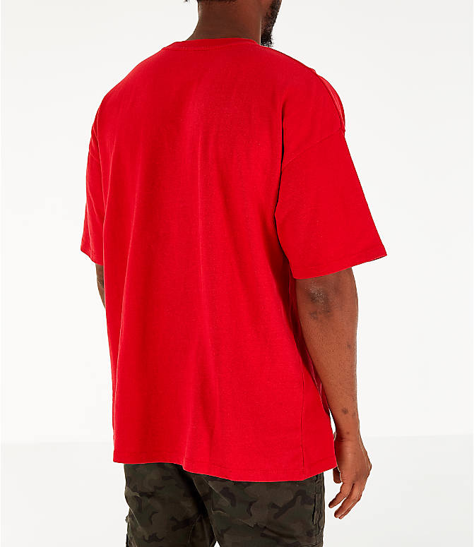 Back Right view of Men's Timberland Striped Box T-Shirt in Red