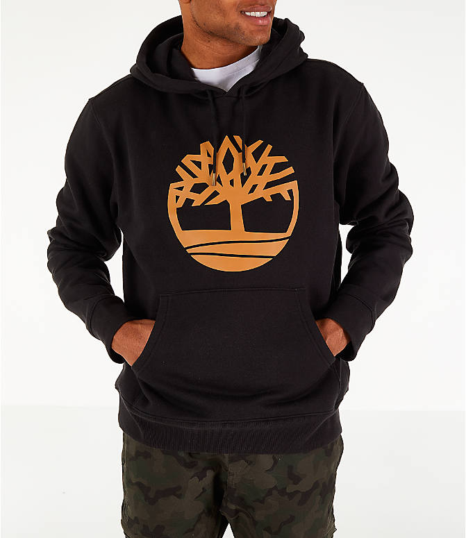 Front view of Men's Timberland Big Tree Logo Hoodie in Black