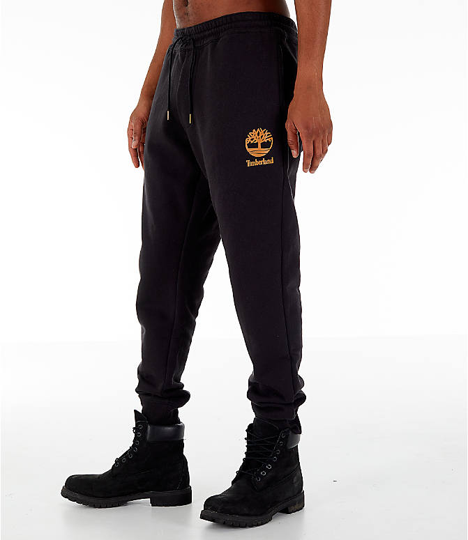 Front Three Quarter view of Men's Timberland Jogger Sweatpants in Black