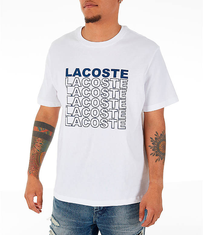 Front view of Men's Lacoste Allover Print T-Shirt in White