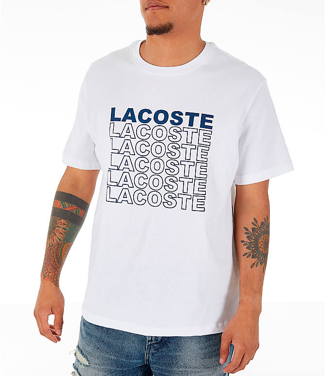 Front Three Quarter view of Men's Lacoste Allover Print T-Shirt in White