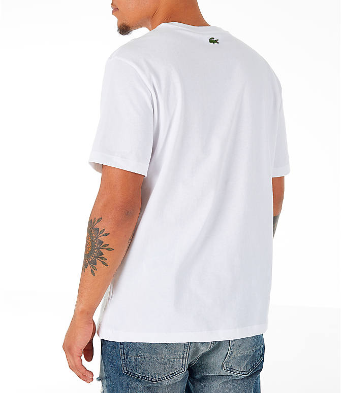 Back Left view of Men's Lacoste Allover Print T-Shirt in White