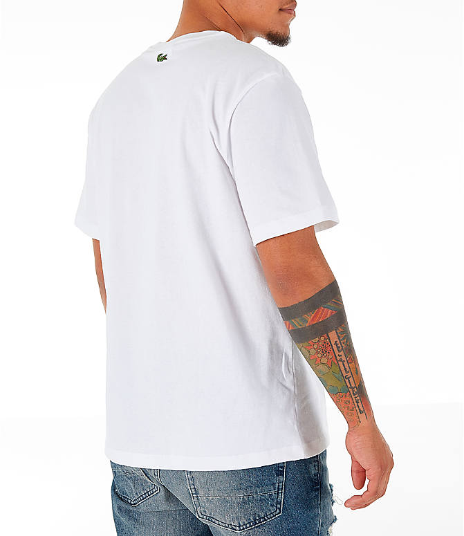 Back Right view of Men's Lacoste Allover Print T-Shirt in White