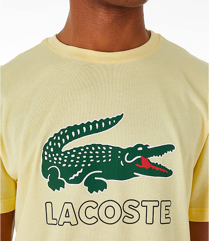 Detail 1 view of Men's Lacoste Big Croc Script T-Shirt in Yellow/Green