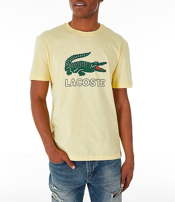 Front view of Men's Lacoste Big Croc Script T-Shirt in Yellow/Green