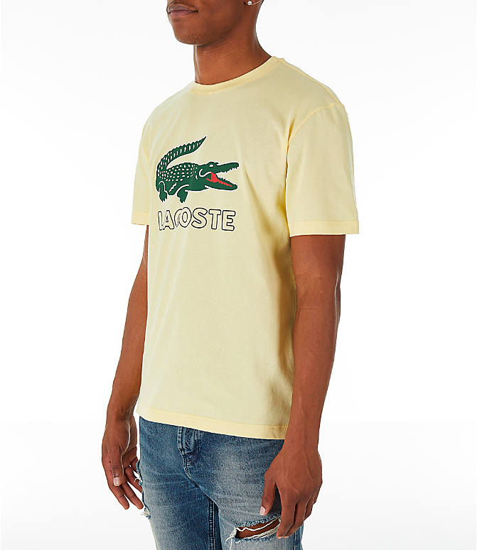 Front Three Quarter view of Men's Lacoste Big Croc Script T-Shirt in Yellow/Green
