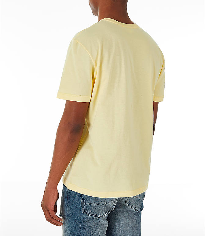 Back Left view of Men's Lacoste Big Croc Script T-Shirt in Yellow/Green