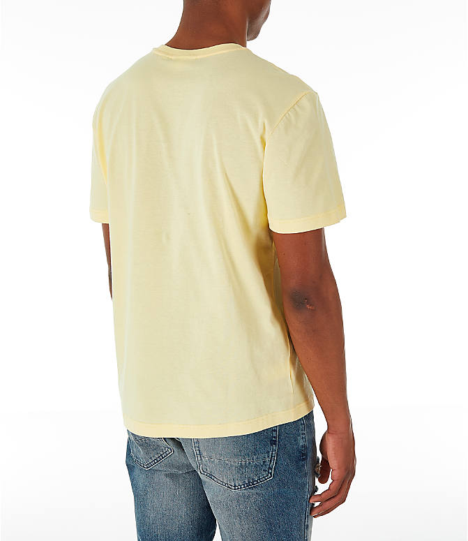 Back Right view of Men's Lacoste Big Croc Script T-Shirt in Yellow/Green
