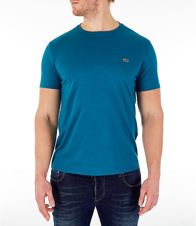 Front view of Men's Lacoste Pima Crew T-Shirt in Blue
