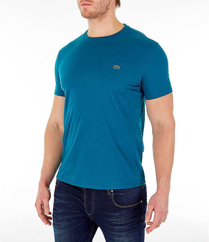 Front Three Quarter view of Men's Lacoste Pima Crew T-Shirt in Blue