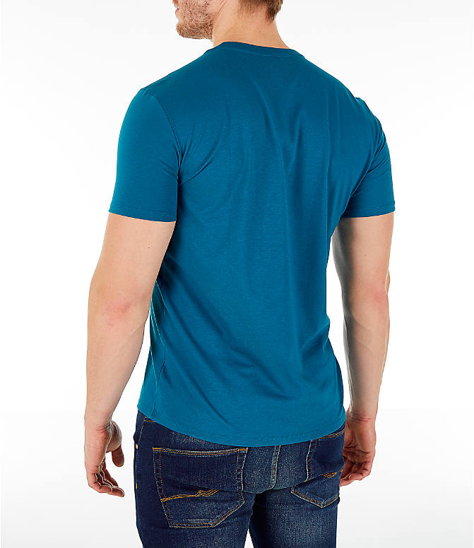 Back Left view of Men's Lacoste Pima Crew T-Shirt in Blue