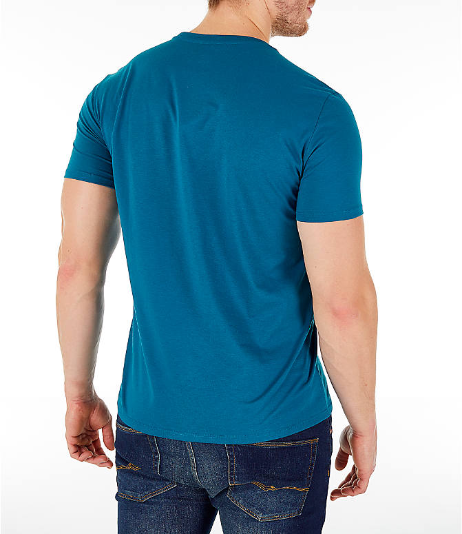 Back Right view of Men's Lacoste Pima Crew T-Shirt in Blue