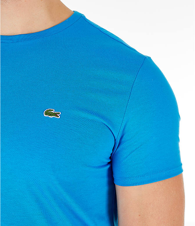 Detail 1 view of Men's Lacoste Pima Crew T-Shirt in Bright Blue