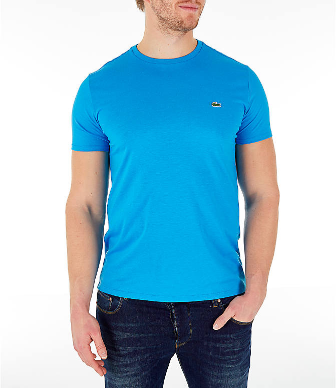 Detail 2 view of Men's Lacoste Pima Crew T-Shirt in Bright Blue