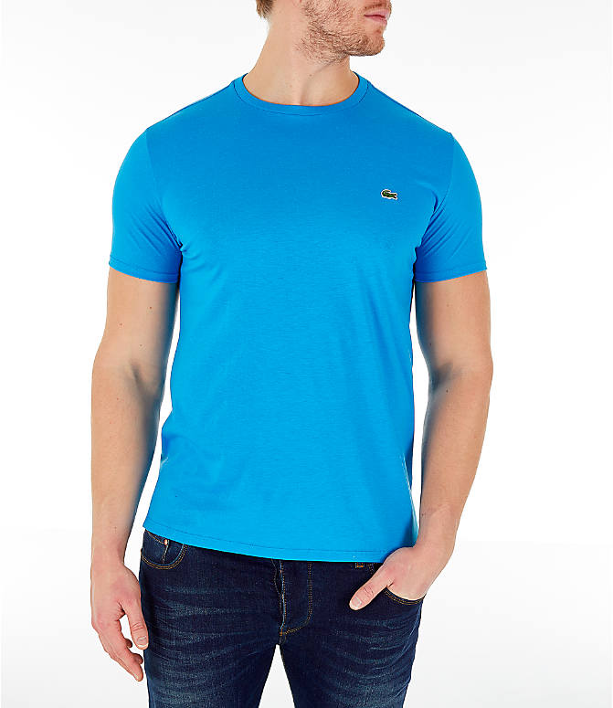 Front view of Men's Lacoste Pima Crew T-Shirt in Bright Blue