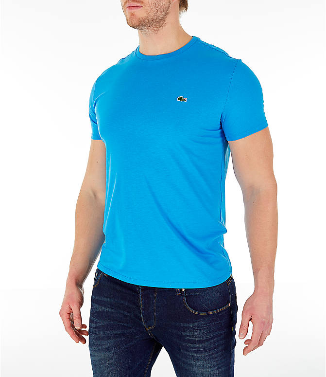Front Three Quarter view of Men's Lacoste Pima Crew T-Shirt in Bright Blue