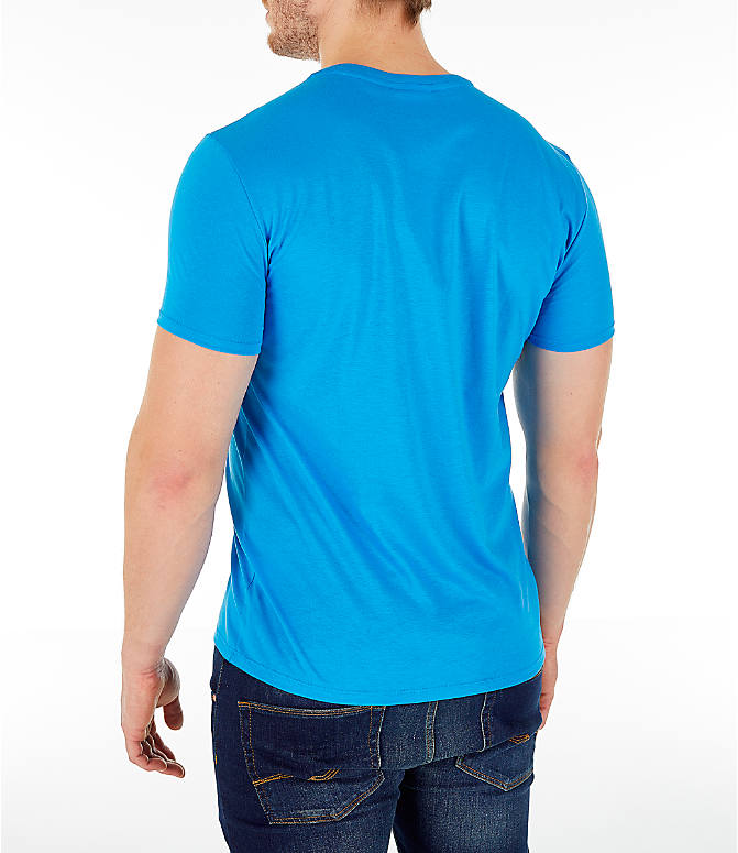 Back Left view of Men's Lacoste Pima Crew T-Shirt in Bright Blue