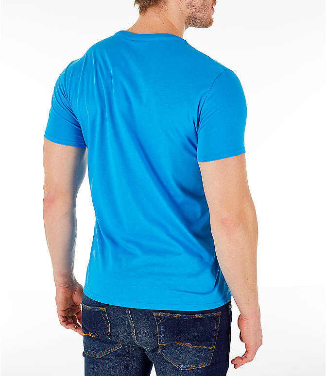 Back Right view of Men's Lacoste Pima Crew T-Shirt in Bright Blue