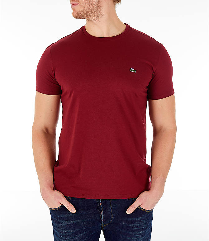 Front view of Men's Lacoste Pima Crew T-Shirt in Bordeaux