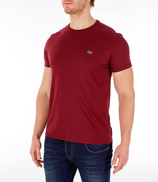 Front Three Quarter view of Men's Lacoste Pima Crew T-Shirt in Bordeaux