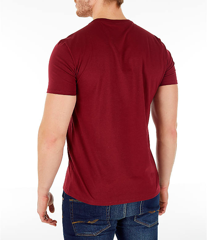 Back Left view of Men's Lacoste Pima Crew T-Shirt in Bordeaux