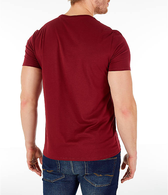 Back Right view of Men's Lacoste Pima Crew T-Shirt in Bordeaux