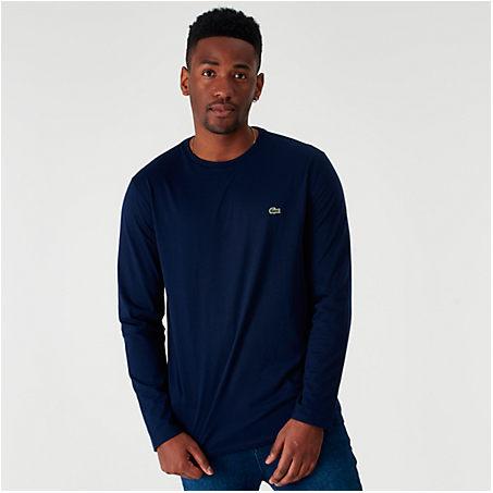 Lacoste T-shirts LACOSTE MEN'S CORE LONG-SLEEVE T-SHIRT IN BLUE SIZE 2X-LARGE 100% COTTON