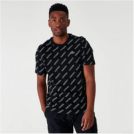Lacoste T-shirts LACOSTE MEN'S ALLOVER PRINT T-SHIRT IN BLACK SIZE 2X-LARGE 100% COTTON