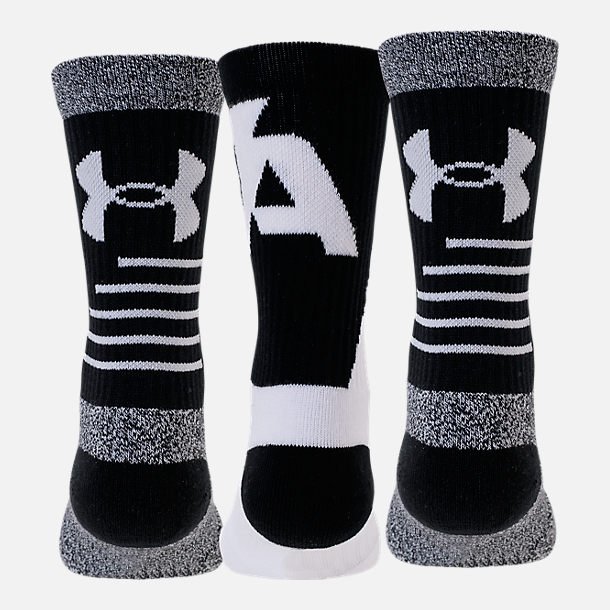 Front view of Boys' Under Armour Phenom 3-Pack Crew Socks - Youth Large in Black/White