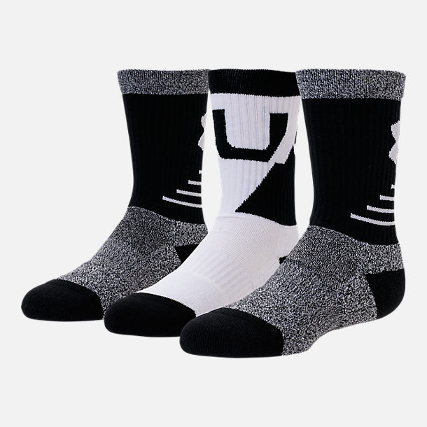 Back view of Boys' Under Armour Phenom 3-Pack Crew Socks - Youth Large in Black/White