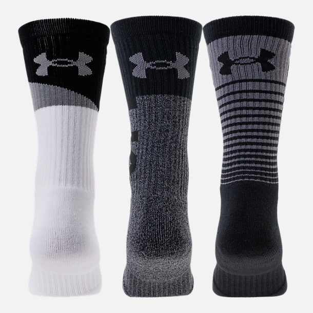 Front view of Men's Under Armour Phenom 3.0 3-Pack Crew Socks in Grey/White/Black
