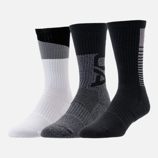 Back view of Men's Under Armour Phenom 3.0 3-Pack Crew Socks in Grey/White/Black